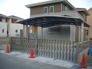 伸縮門扉とカーポート